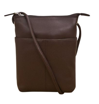 Brown Leather mini sac. Adjustable strap which can be knotted and shortened to any length. Exterior- front slide pocket and back zip pocket. Interior- zip pocket.