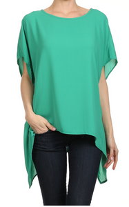 Green Hi-Lo Asymmetric Top One Size