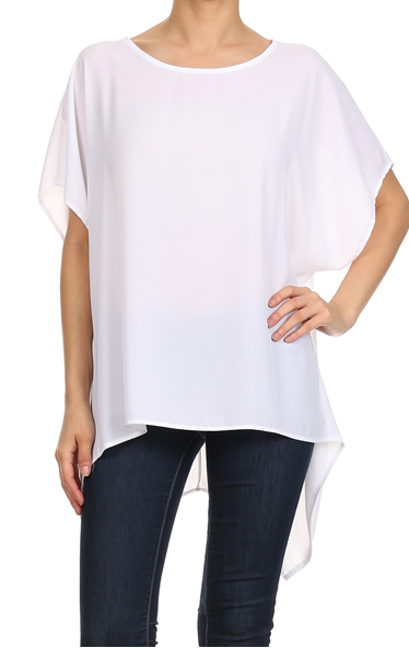 White Hi-Lo Asymmetric Top One Size