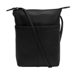 Black Leather mini sac. Adjustable strap which can be knotted and shortened to any length. Exterior- front slide pocket and back zip pocket. Interior- zip pocket.