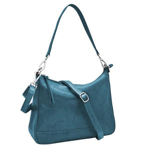 Denim Blue Genuine leather, zip top hobo with detachable shoulder strap and detacahable/adjustable crossbody strap. Exterior- back zip pocket. Interior- zip and slide pockets. Dimensions: 12.5 x 9 x 4 in.