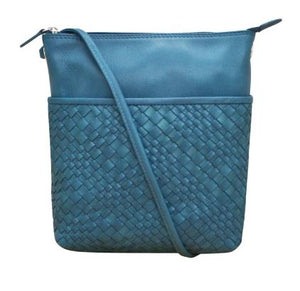 Leather crossbody with woven detail and RFID blocking lining. Adjustable crossbody strap can be knotted and shortened to any length. 28-in drop. Exterior- top zip, front slide pocket, and back zip pocket. Interior- zip pocket. Dimensions: 8 x 9 x 2 in.