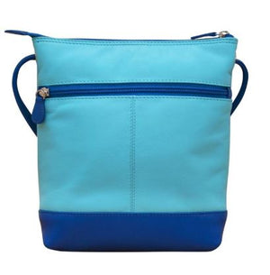 Mykonos Blue Leather colorblock crossbbody with RFID blocking lining. Adjustable strap can be knotted and shortened to any length. Exterior - front slide pocket and back zip pocket. Interior zip pocket. 28 in drop. 8 x 9 x 2 in.