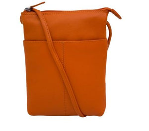 Orange Leather mini sac. Adjustable strap which can be knotted and shortened to any length. Exterior- front slide pocket and back zip pocket. Interior- zip pocket.