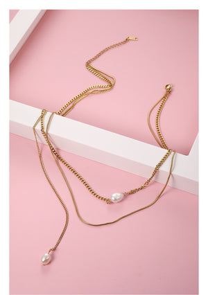 Boho Double Chain Choker Necklace
