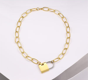 Big Lock Link Chain Choker Necklace
