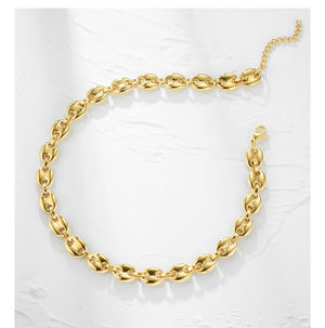 Coffee Beans Link Chain Choker Necklace