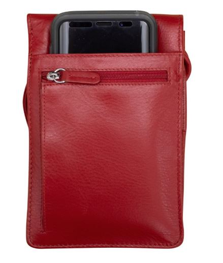 Leather organizer on a string with RFID blocking lining. Strap can be knotted inside and shortened to any length. 31-in drop. Exterior- front, side and back zip pockets, front and back slide pockets.