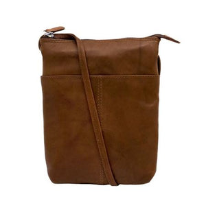 Toffee Leather mini sac. Adjustable strap which can be knotted and shortened to any length. Exterior- front slide pocket and back zip pocket. Interior- zip pocket.