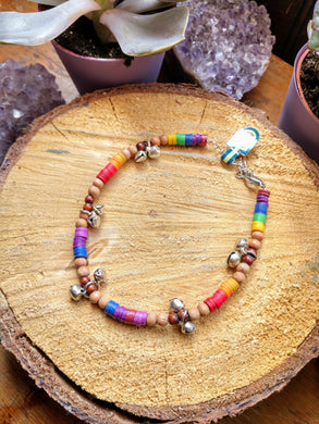 Rainbow bell anklet