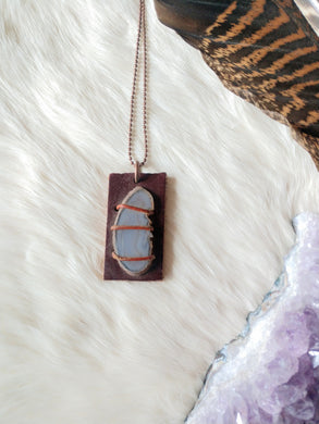 Leather and Gemstone Pendant #2