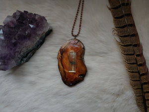 Large Selenite Gemstone and Wood Pendant