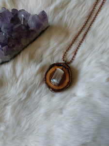 Selenite Gemstone and Wood Pendant #2