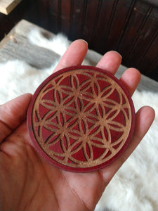 Wood flower of life buckle