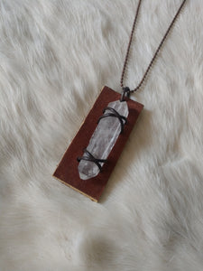 Leather and Gemstone Pendant #6