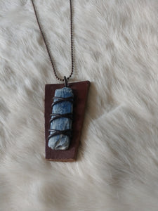 Leather and Gemstone Pendant #5