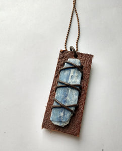 Leather and Kyanite Pendant #2