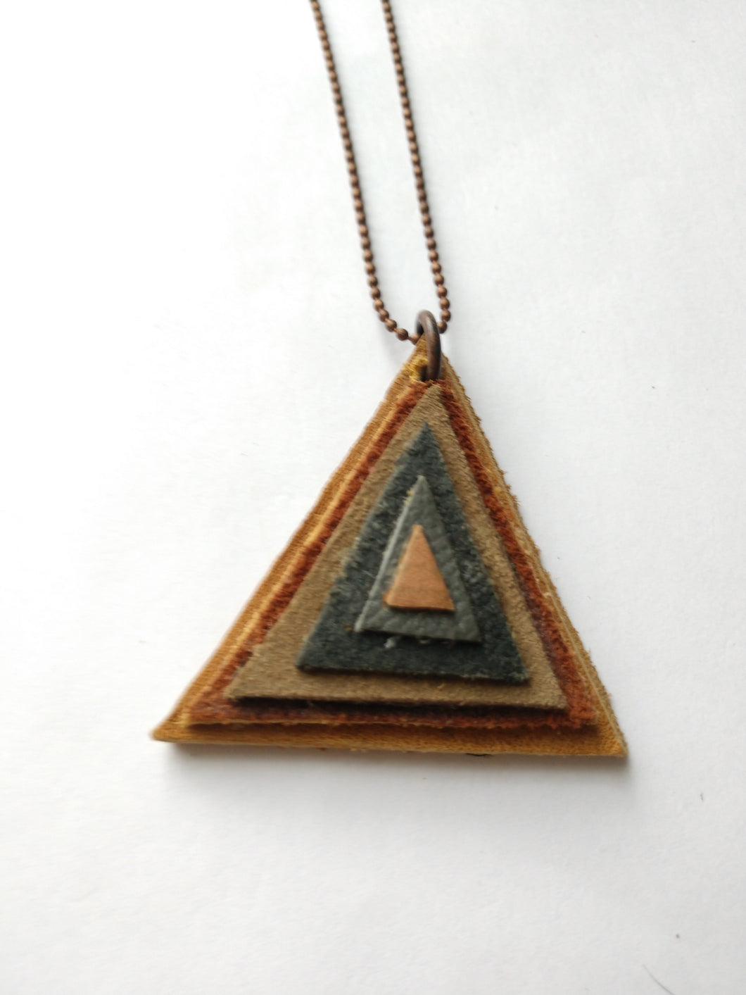Leather Triangle Pendant #3