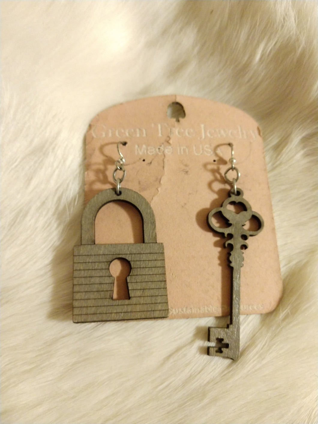 gray key earrings