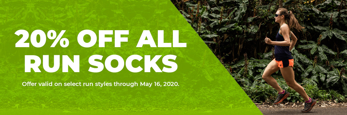 20% Off All Run Socks, Offer valid on select run styles through May 16, 2020.