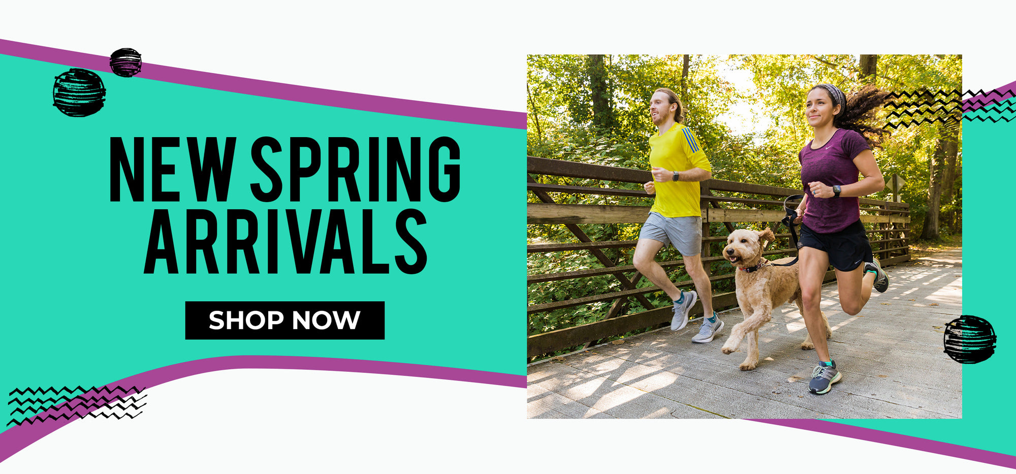 New Spring Arrivals, Shop Now, man and woman running with dog