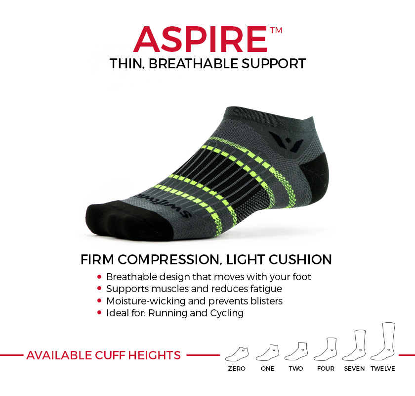 ASPIRE firm compression socks. Thin, breathable support ideal for running and cycling. Available in six cuff heights.