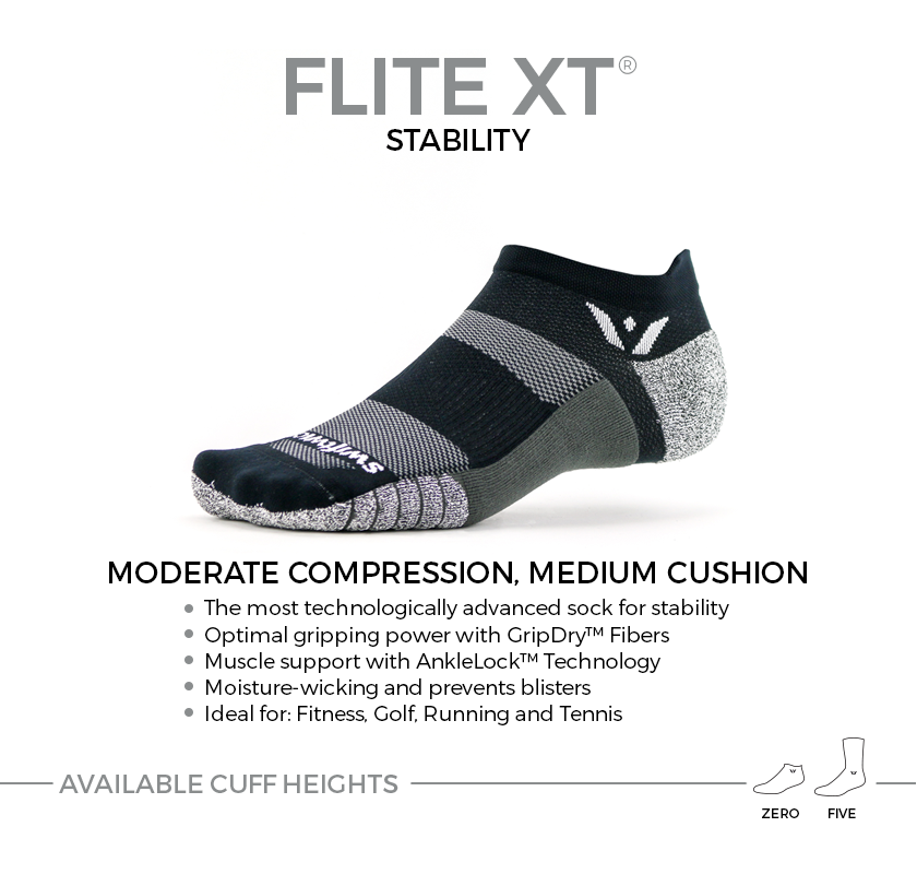 FLITE XT stability socks. Moderate compression, medium cushion ideal for fitness, golf, running and tennis. Available in two cuff heights.
