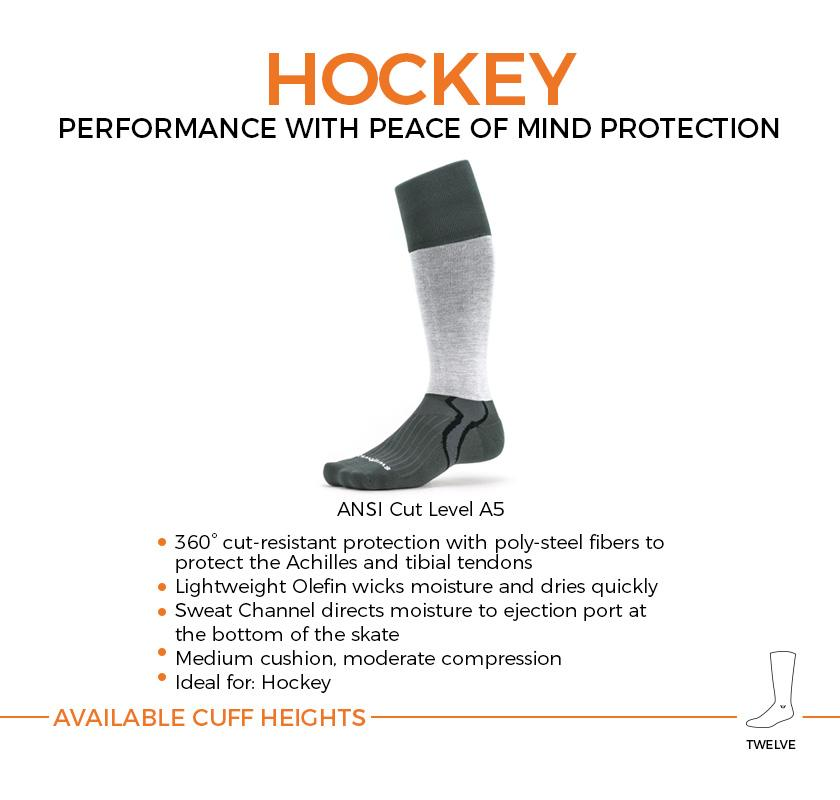 HOCKEY performance with peace of mind protection socks. Medium cushion, moderate compression with cut resistant, sweat wicking fibers.