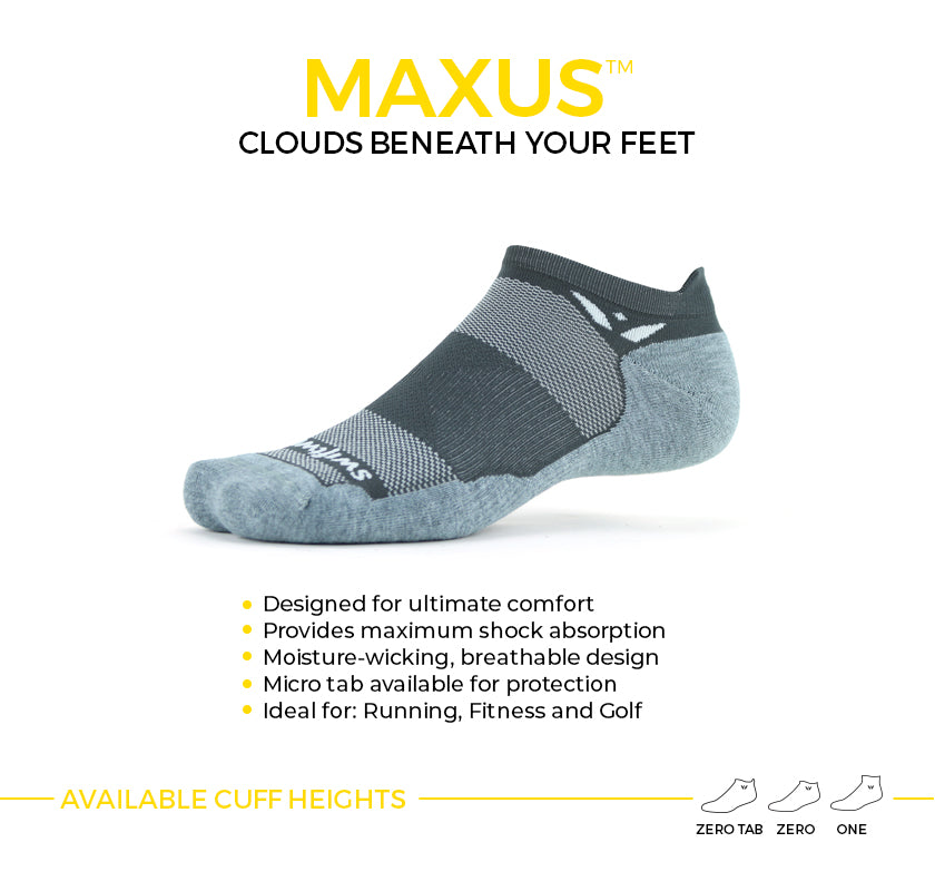 MAXUS maximum cushion socks. Plush comfort ideal for running, fitness and golf. Available in two cuff heights.