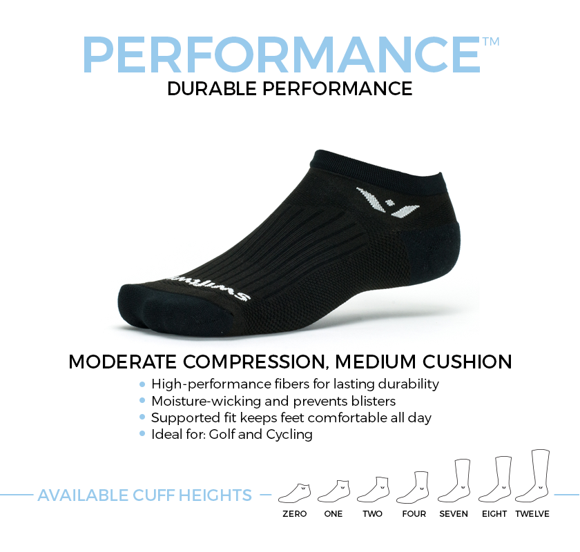 PERFORMANCE durable socks. Moderate compression, medium cushion ideal for golfing and cycling. Available in seven cuff heights.