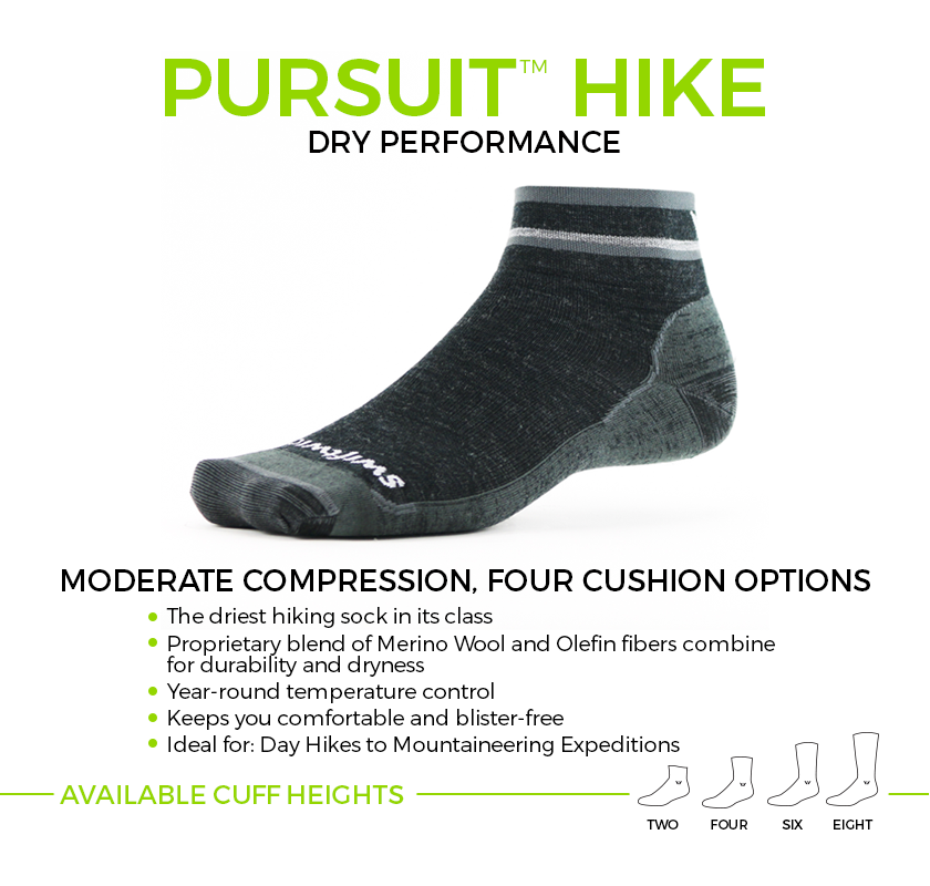 PURSUIT HIKE Merino Wool socks. Moderate compression, four cushion options ideal for hiking. Available in four cuff heights.