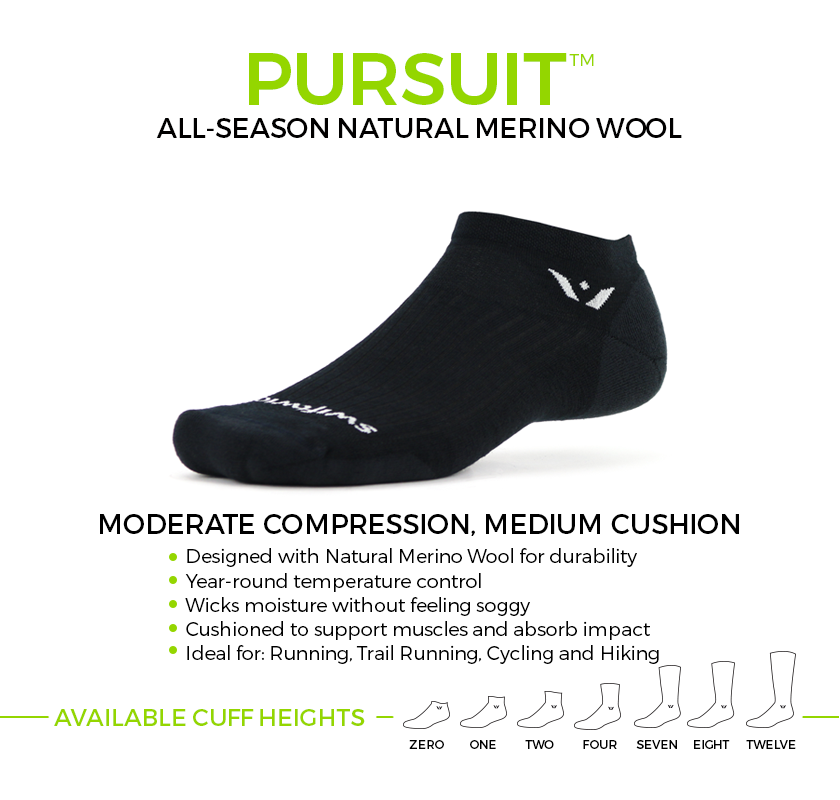 PURSUIT Merino Wool socks. Moderate compression, medium cushion ideal for running, trail running, cycling and hiking. Available in seven cuff heights.