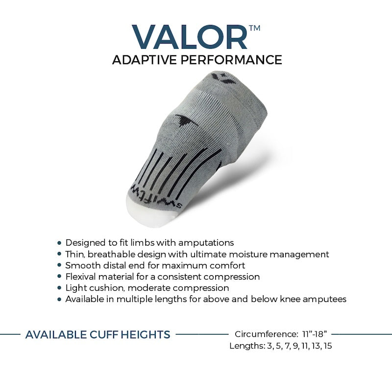 VALOR adaptive performance socks. Light cushion, moderate compression for amputees. Available in different lengths and volume options.