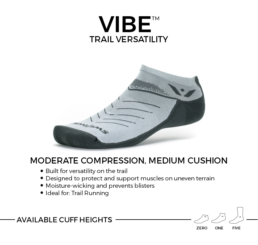 VIBE versatile trail socks. Moderate compression, medium cushion ideal for trail running. Available in three cuff heights.