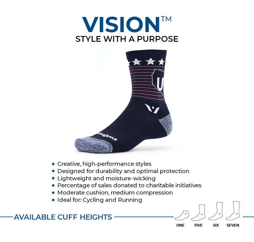 VISION stylish performance socks. Moderate compression, medium cushion ideal for cycling and running. Available in four cuff heights.