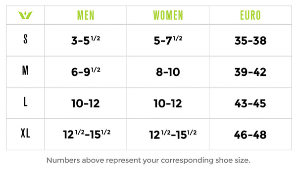 Swiftwick Socks Sizing Chart