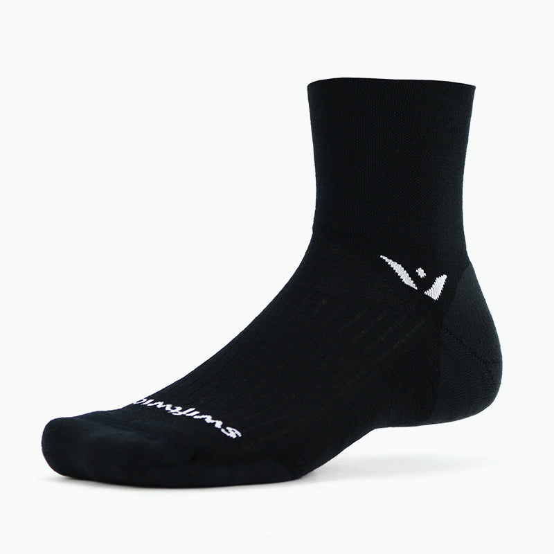 Swiftwick PURSUIT Four, Merino Wool, Trail Running, Cycling Socks, Black