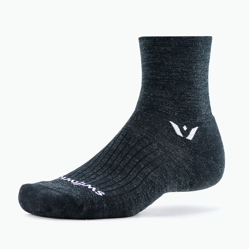 Swiftwick PURSUIT Four, Merino Wool, Trail Running, Cycling Socks, Coal