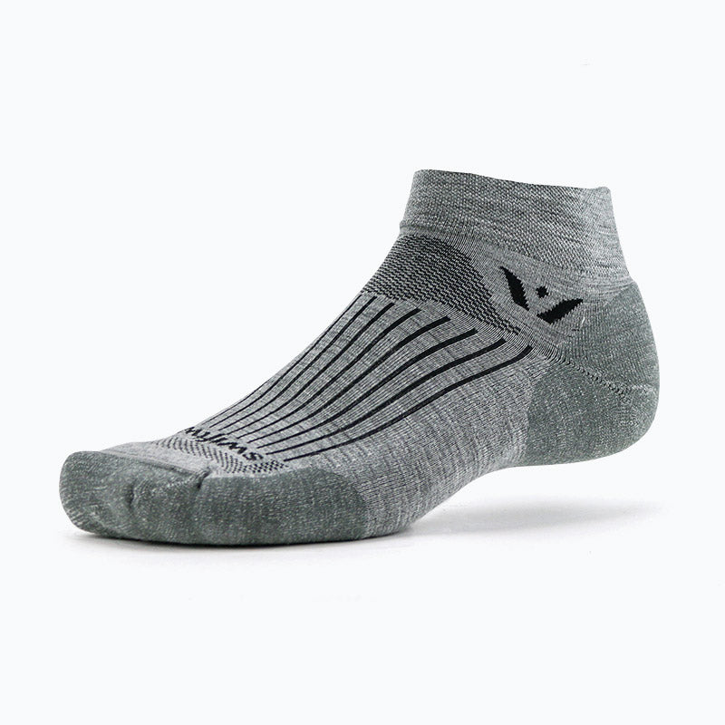 Swiftwick PURSUIT One, Merino Wool, Cycling, Golf, Trail Running Socks, Heather Gray