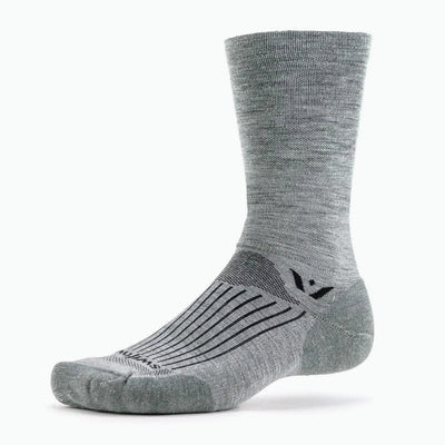 Swiftwick PURSUIT Seven, Merino Wool, Cycling, Hiking, Trail Running Socks, Heather Gray