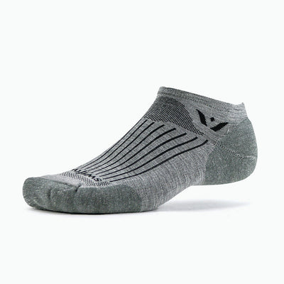 Swiftwick PURSUIT Zero, Merino Wool, Running, Cycling Socks, Heather Gray