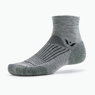 Swiftwick PURSUIT Two, Merino Wool, Cycling, Golf, Trail Running Socks, Heather Gray