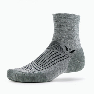 Swiftwick PURSUIT Four, Merino Wool, Trail Running, Cycling Socks, Heather Gray