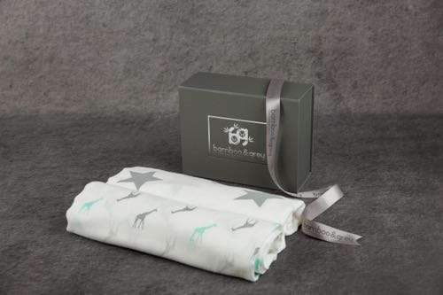 Luxury Swaddle/Blanket Gift Box - Bamboo & Grey