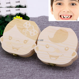 Tooth Box Organizer Baby Save Milk Teeth Wood Storage Box For Kids Boy&Girl