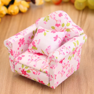 1:12 Scale Pink Floral Miniature Armchair Single Sofa Couch For Children Mini DIY Dollhouse Furniture Toys Gift