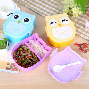 Kawaii Candy Color Owl Lunch Box Microwave Oven Bento Container Case Dinnerware Children's Birthday Gift Baby Food Storage Box