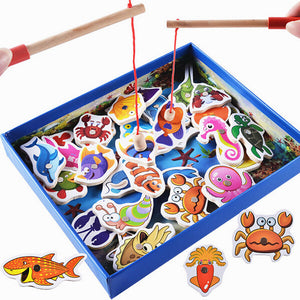 Baby Educational Toy Fishing Set Marine Biological Congnition Magnetic Toys Set Game Kids Gifts 32Pcs Fishing Set