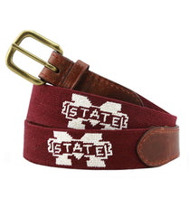 Load image into Gallery viewer, Smathers & Branson ACCESSORIES - BELTS - NEEDLEPOINT 34 Smathers & Branson, Mississippi State Needlepoint Belt, Maroon