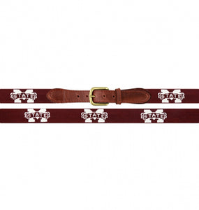 Smathers & Branson ACCESSORIES - BELTS - NEEDLEPOINT 34 Smathers & Branson, Mississippi State Needlepoint Belt, Maroon